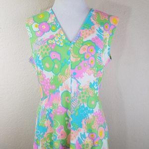 Vintage 60's Psychedelic Pastel Floral Maxi Dress